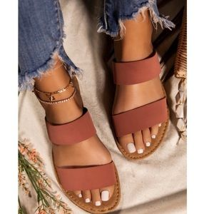 Shoes - Strappy Double Band Open Toe Slide Sandals